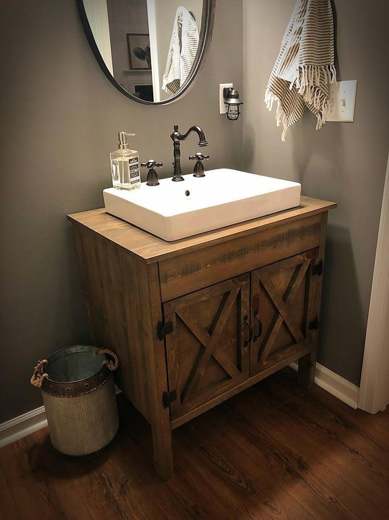 Photo of Rustic Barn Door Bathroom Vanity – Free Shipping – Farmhouse Vanity