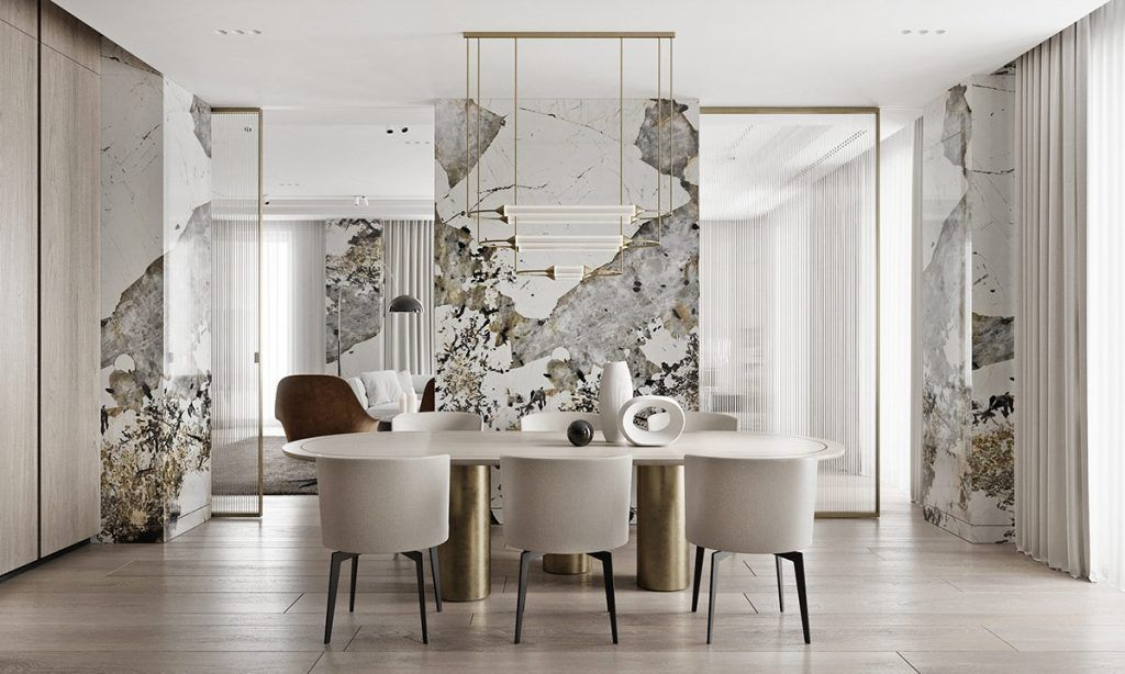 Home Designing Magnificent Modern Marble Interior With Metallic