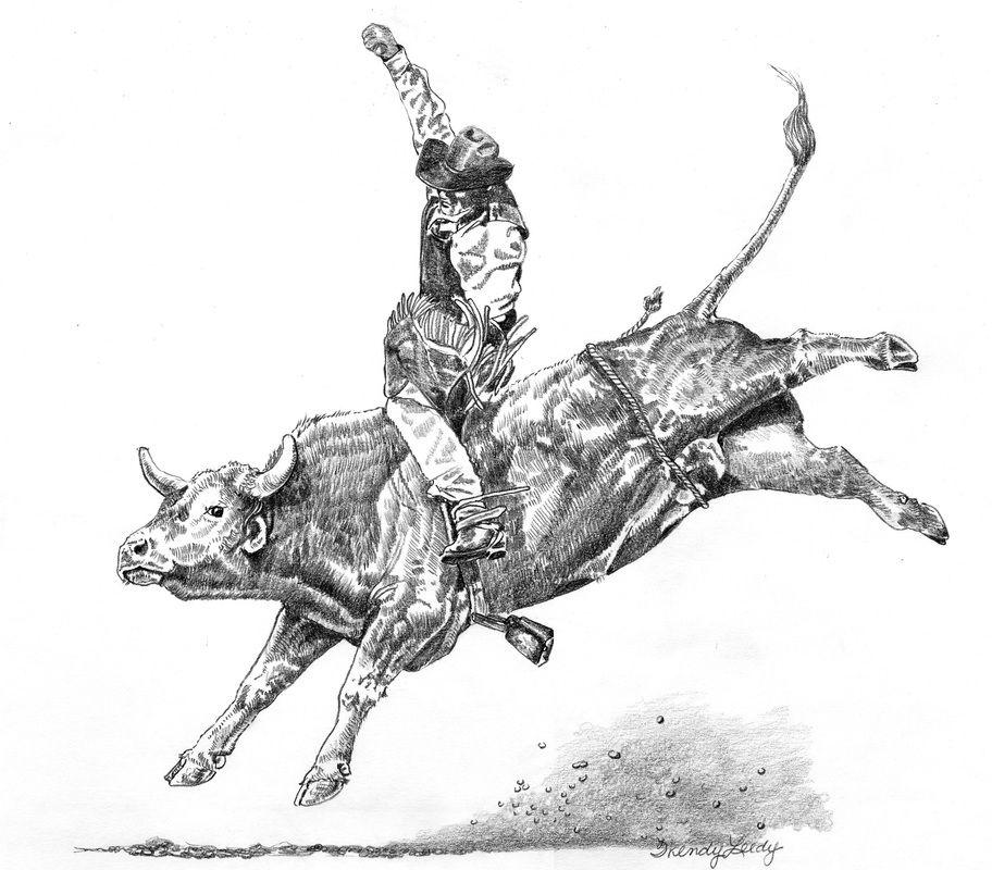 Bull Riding Drawings | Cowboys & Rodeo - WENDY LEEDY ART | Tattoo ...