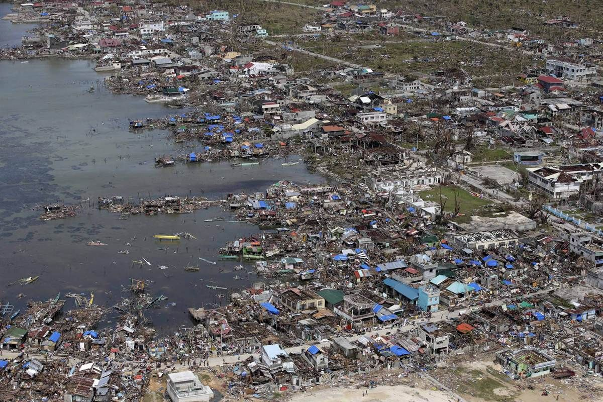 Typhoon Haiyan Batters The Philippines Philippines Aerial View City Photo