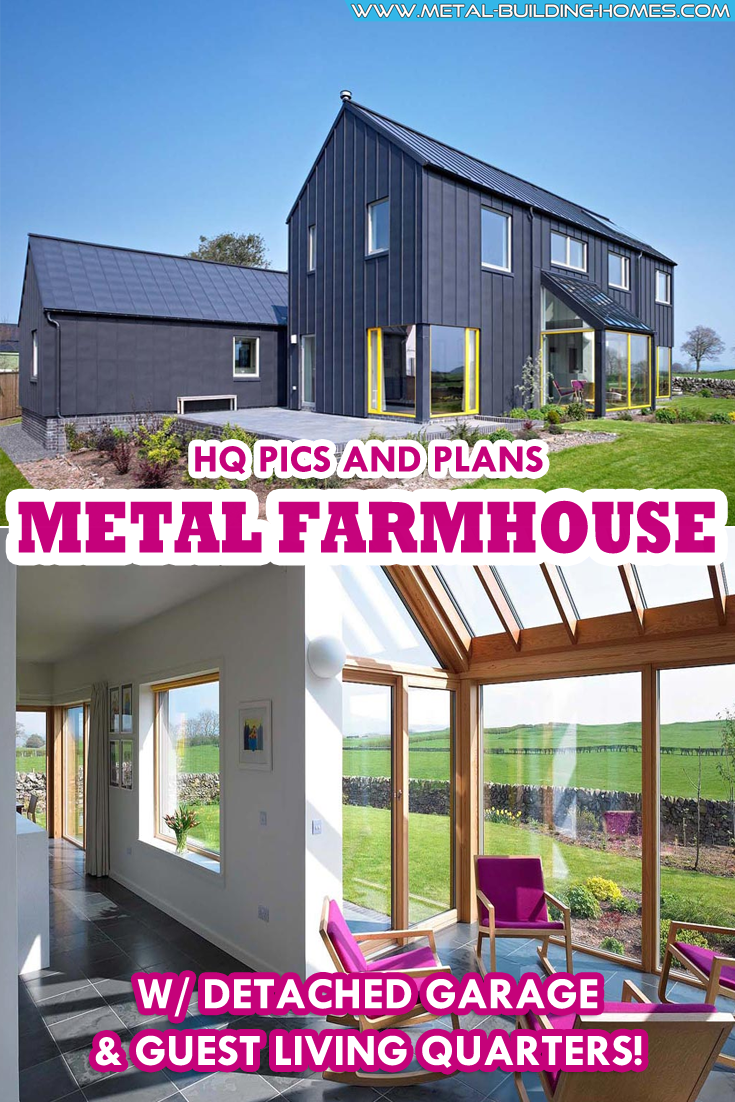 Metal Farmhouse w/ Detached Garage & Guest Living Quarters! #metalbuildinghomes
