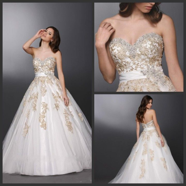 White and Gold Custom Made Wedding Dresses 2015 Sweetheart Gown ...