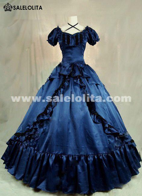 2016 Elegant Dark Blue Short Sleeve Vintage Renaisance Gothic Victorian  Ball Gowns 9a188e9055cf