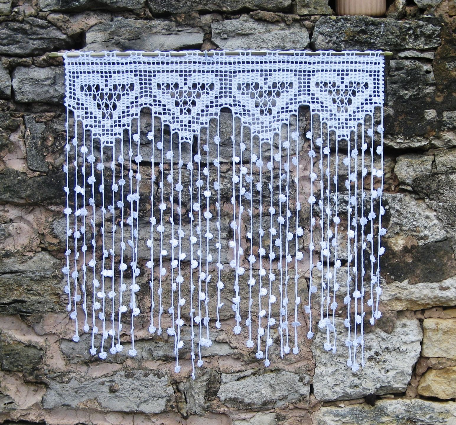 Rideau Retro Vintage En Filet De Crochet Motifs Coeurs