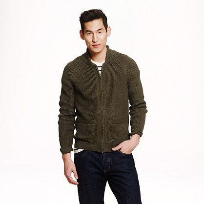 J.Crew - Rustic cotton full-zip sweater | Men's Fashion ...