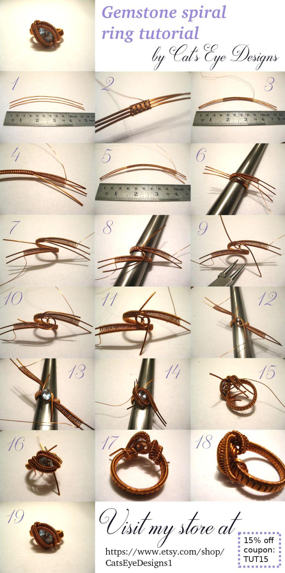 Wire wrapped spiral gemstone ring tuorial | Drahtschmuck, Draht und ...