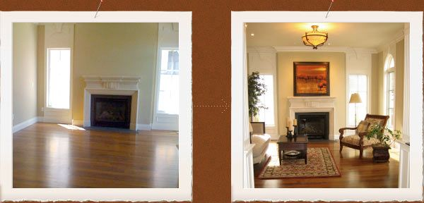 living room before and after home staging services pc designs denver colorado cherry creek - Home Staged Designs