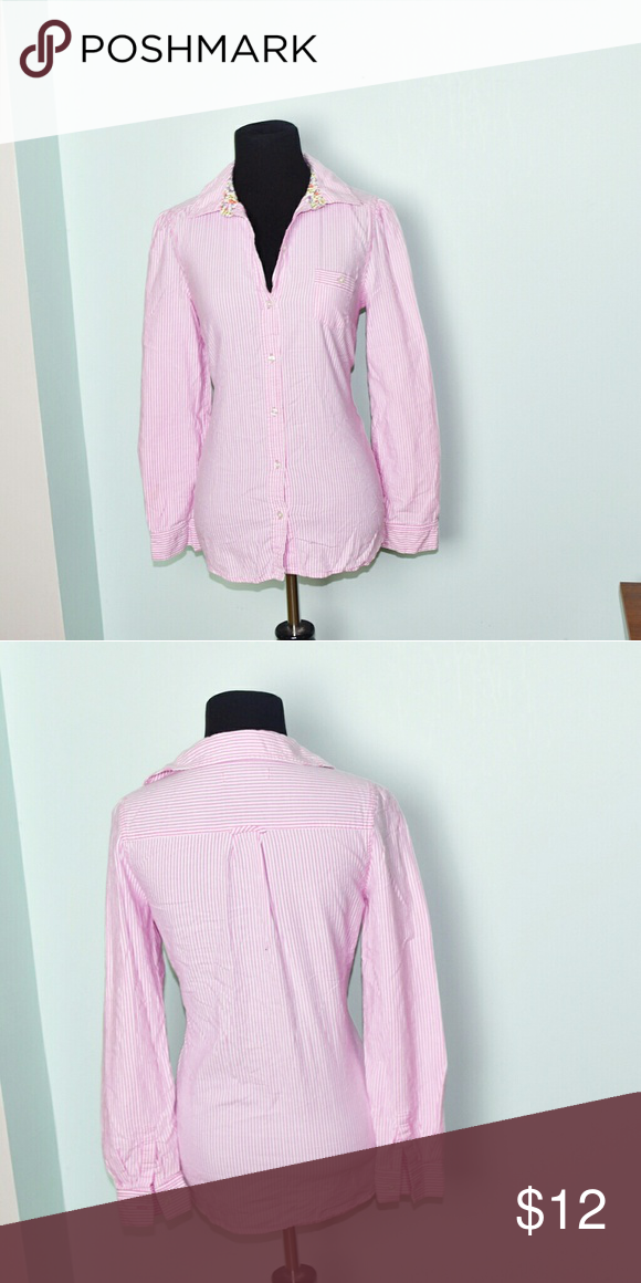 e09a3db57 Super Cute Pink Pinstripe Button Down Shirt In excellent condition! Very  comfortable, lightweight, and stretchy! Buy 3 items and get 1 free plus 15%  off ...