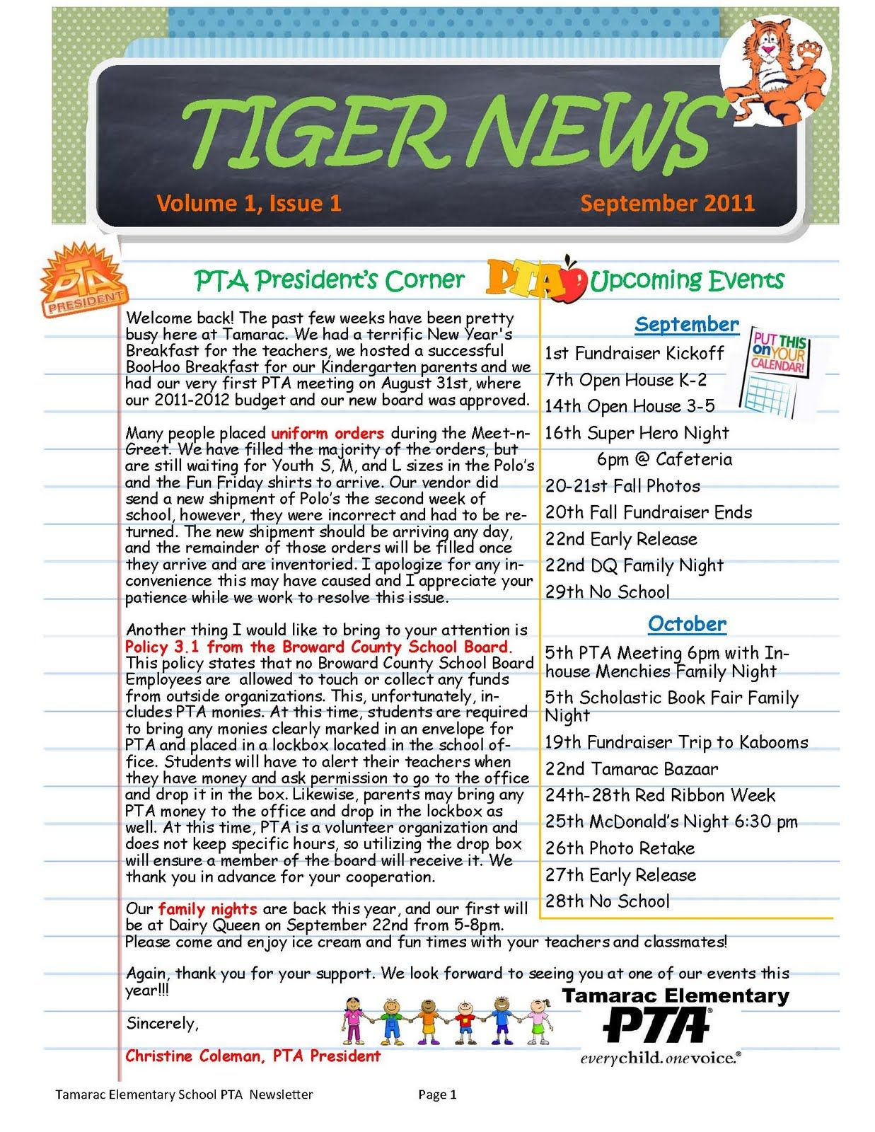 1st ever tamarac elementary pta tiger news newsletter pfa