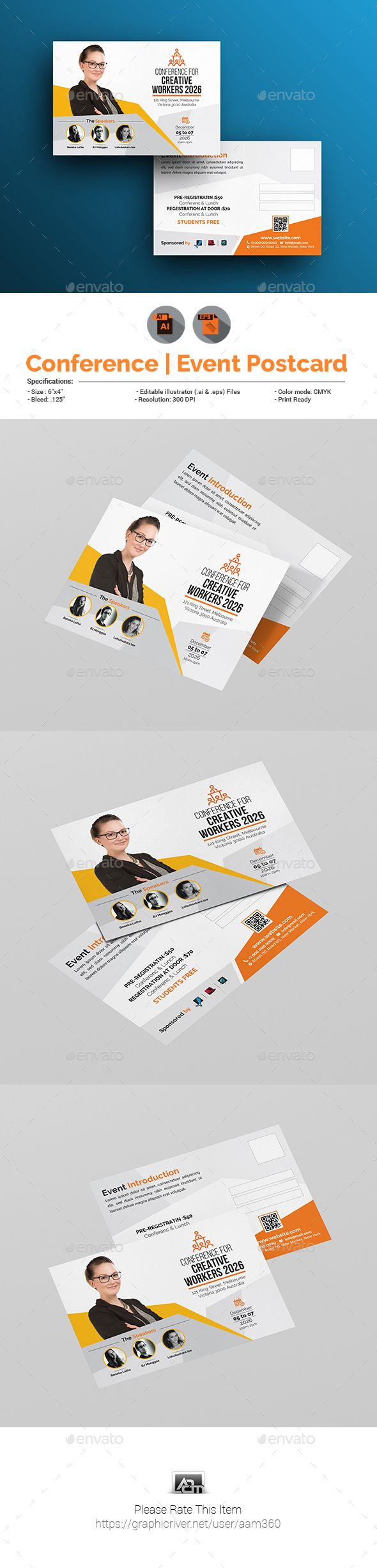 Event / Conference #postcard Template - #cards & Invites Print Templates