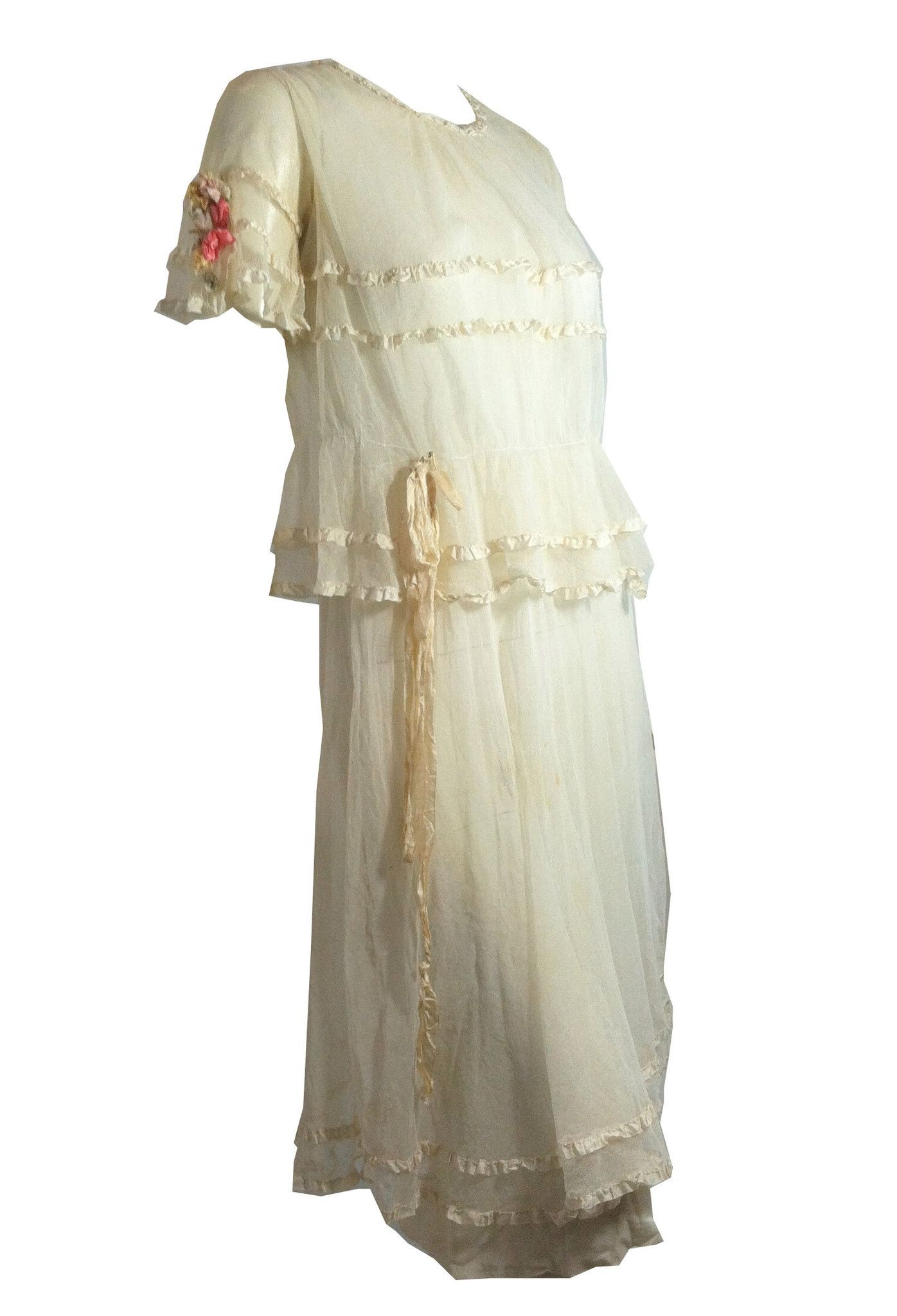 Ribbons and lace summer garden party wedding dress circa s