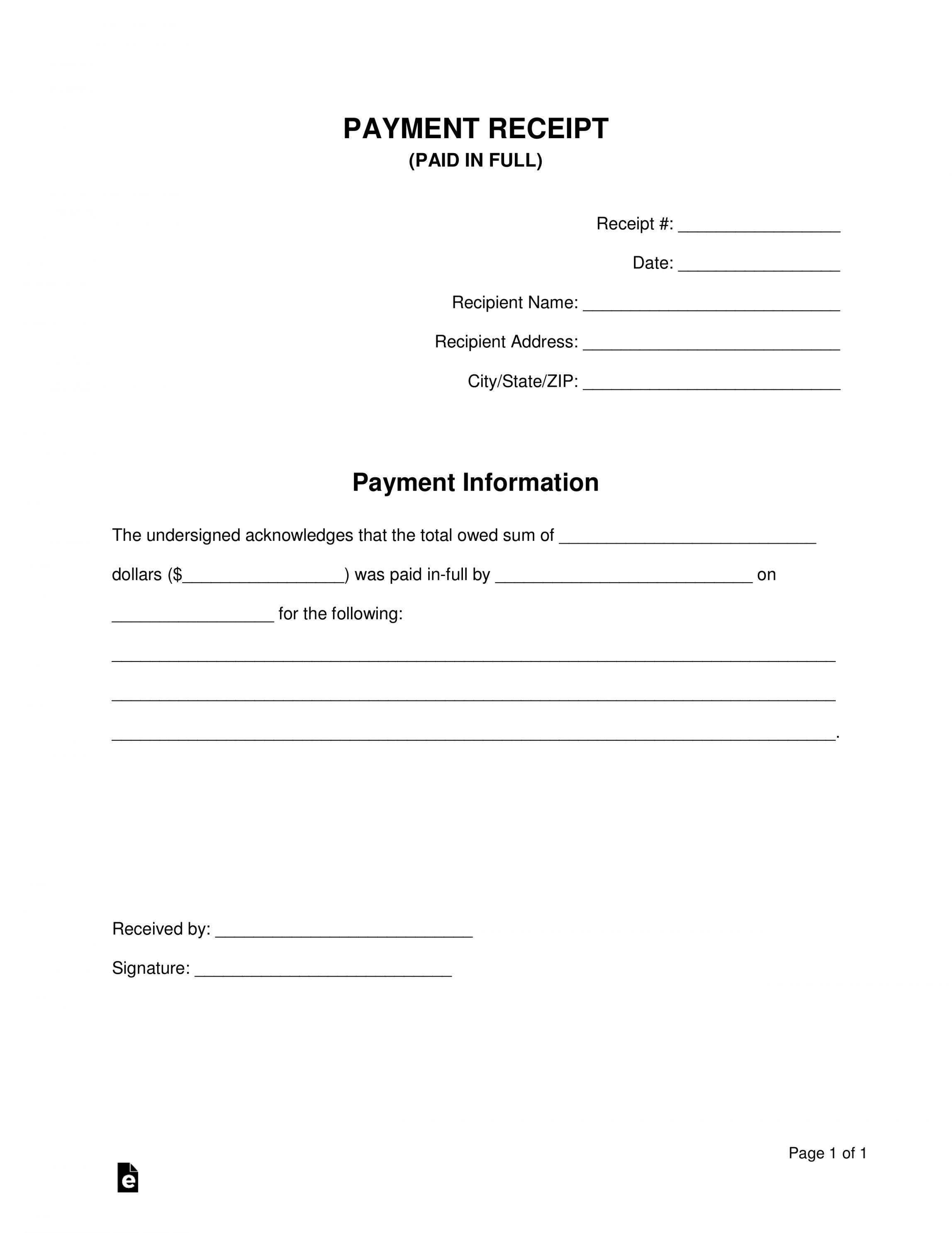 Explore Our Free Paid In Full Receipt Template Receipt Template Personal Loans Free Receipt Template