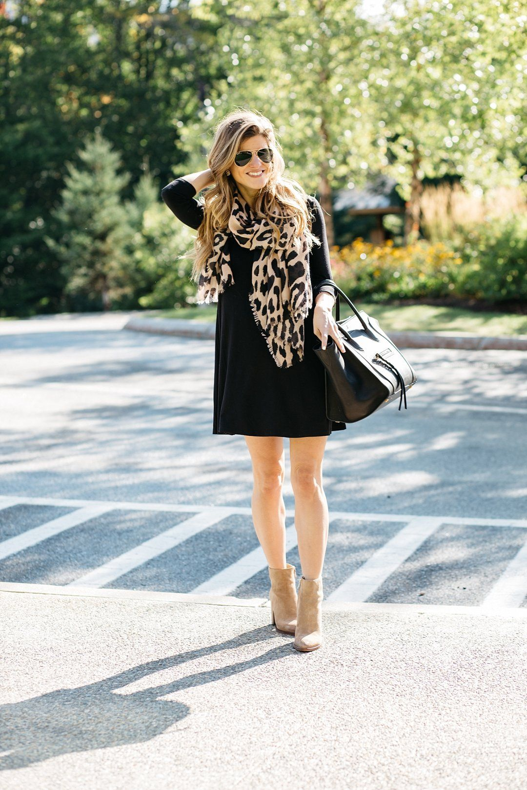 black swing dress with boots, leopard scarf, dress with ankle booties, black  dress