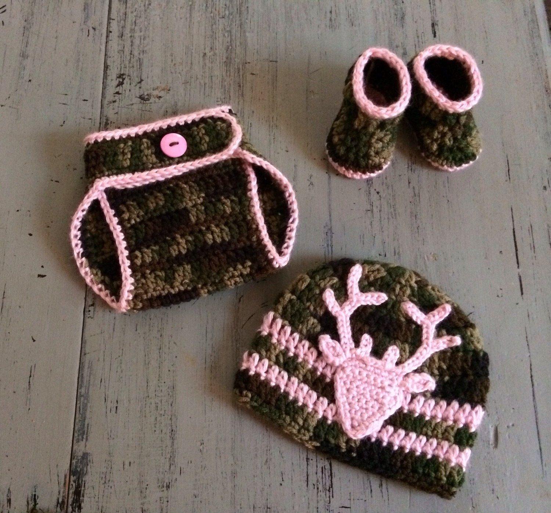 Newborn baby girl crochet camo hat diaper cover and booties crochet newborn baby girl crochet camo hat bankloansurffo Images