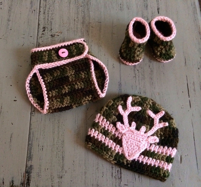 b1fdff18358 Newborn Baby Girl Crochet Camo hat