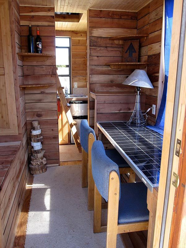 tiny houses on wheels interior to lights to computers this one panel wonder on wheels - 8x12 Tiny House On Wheels Plans