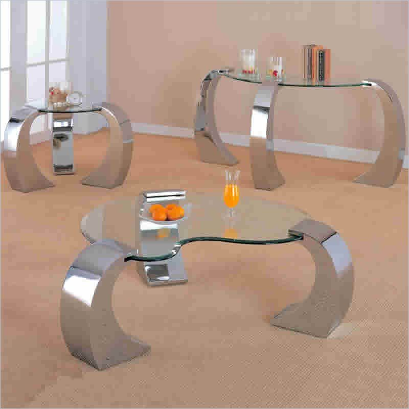 Coaster Custer Chrome End Table with Glass Top 3 piece