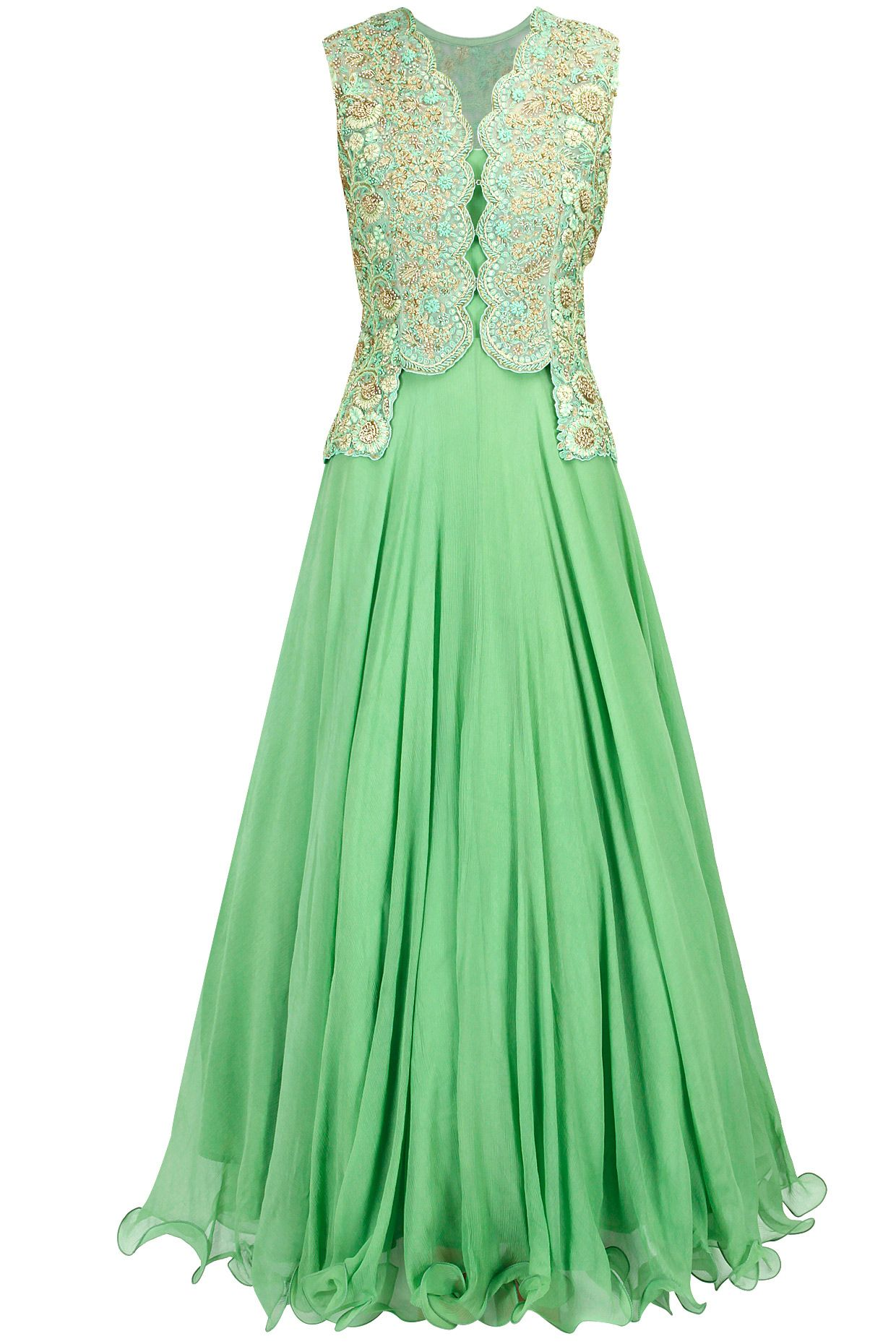 Green dress ideas  Mint green embroidered anarkali with jacket available only at