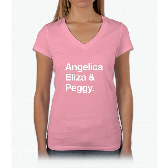 Helvetica Angelica Eliza and Peggy (White on Black) Womens V-Neck T-Shirt