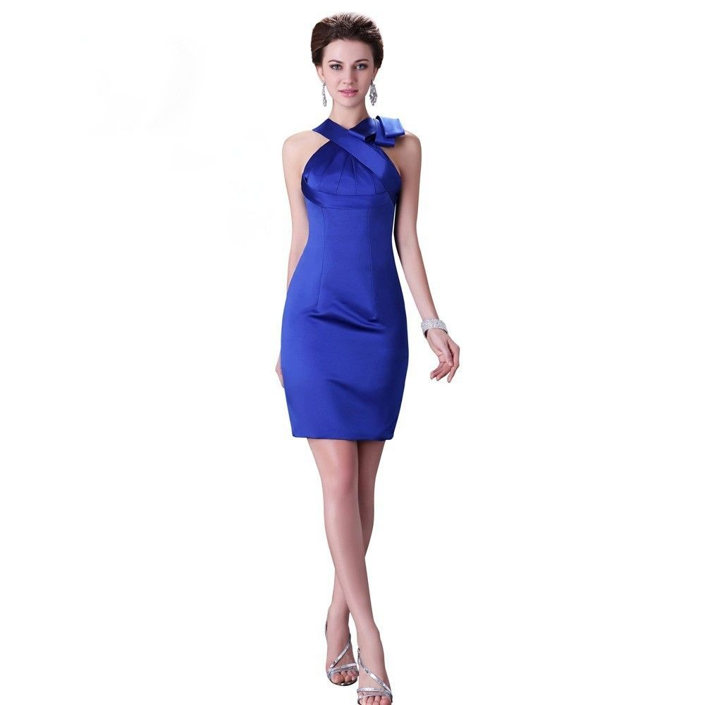 Satin Cocktailkleid in Royal Blau | Blaue Kleider online kaufen ...