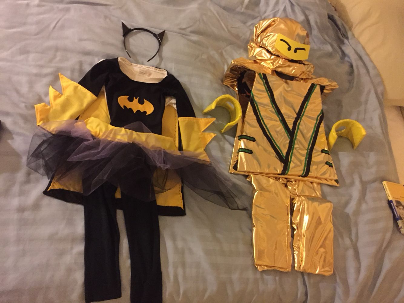 Batgirl superhero and Ninjago Golden Ninja Lego. DIY kid
