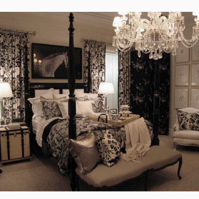 Beautiful Bedroom Picture I Found! I Love The Black And White With A  Chandelier! Dark Enough For A Masculine Look, But Chandelier, Pictures, And  Flowered ...