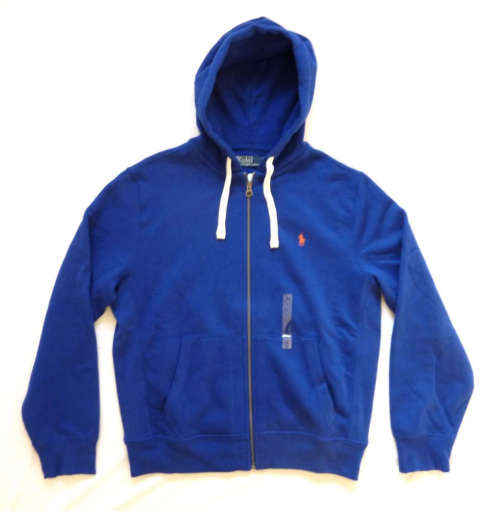 POLO RALPH LAUREN MENS NEW ELECTRIC BLUE HOODY HOODIE ZIP UP JACKET ALL SIZES