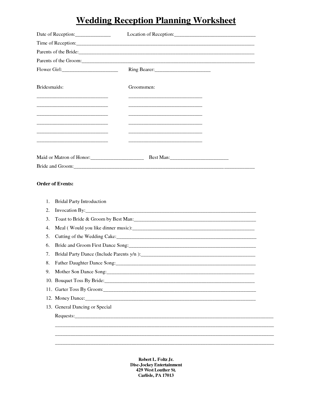 Wedding Reception Planning Worksheets Quelles Astuces Pour