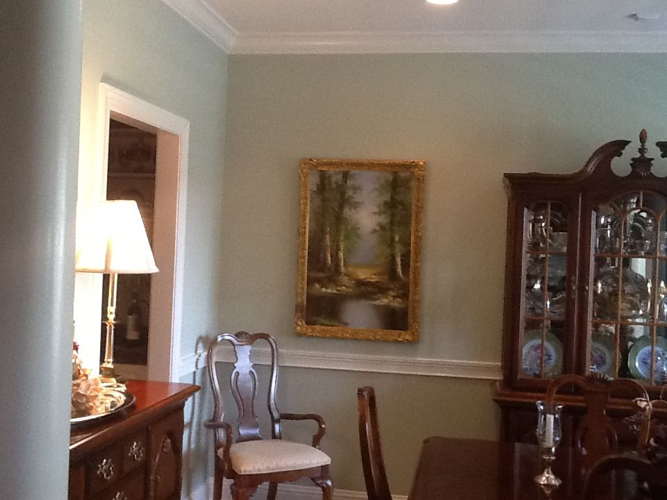Dining Room Walls Painted With Prescott Green From Benjamin Moore S Historic Color Collection Chair R Fresh Living Room Living Room Paint Dining Room Walls