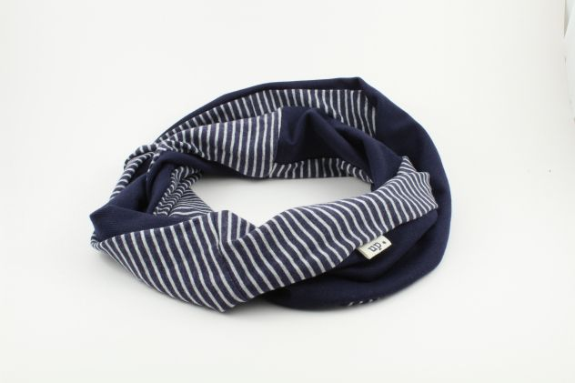 up. striped and blue jersey infinity scarf