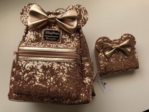Disney Parks Minnie Mouse Rose Gold Loungefly Backpack Plus Wallet SOLD-OUT 065229eef1