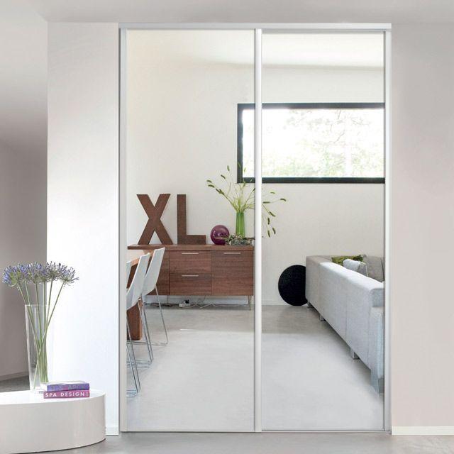Porte De Placard Coulissante Miroir Blanc Form Valla 62 2 X 245 6 Cm Porte Placard Coulissante Placard Coulissant Porte Placard