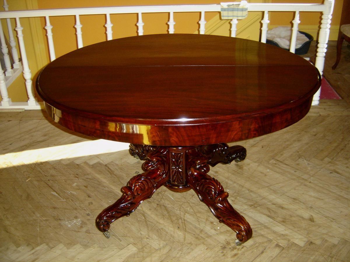 table ovale en acajou massif à allonges d'époque l ph pouvant s
