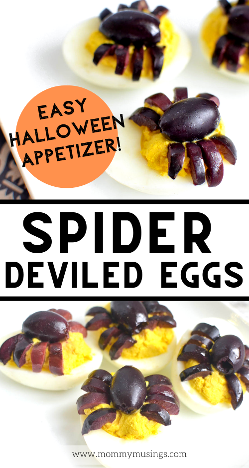 Spider Deviled Eggs #halloweendeviledeggs Halloween Deviled Eggs are a hit every Halloween— Spider Deviled Eggs are creepy, delicious and perfect for a Halloween party appetizer! #halloweenparty #halloweenappetizers #deviledeggs #halloweenfood #halloweenrecipes #partyappetizers #halloweendeviledeggs