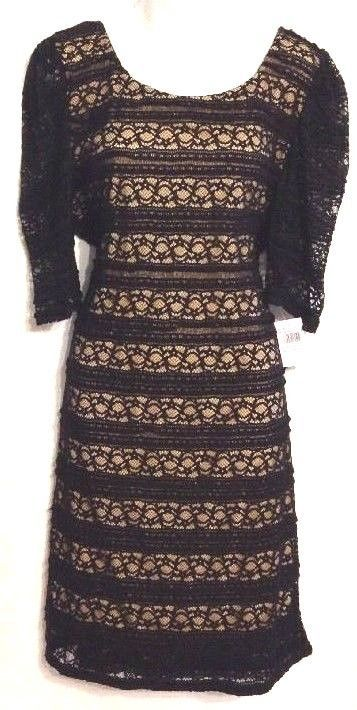 Liberty Love Size 2XL Dress Black Lace Overlay Beige Liner Polyester Elegant NWT #LibertyLove #SexyStretchBodyconSheath #LittleBlackDress