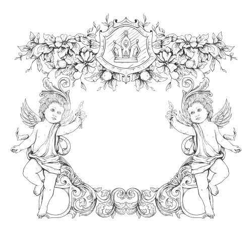 vector victorian frame with angels | Anioł in 2018 | Pinterest ...