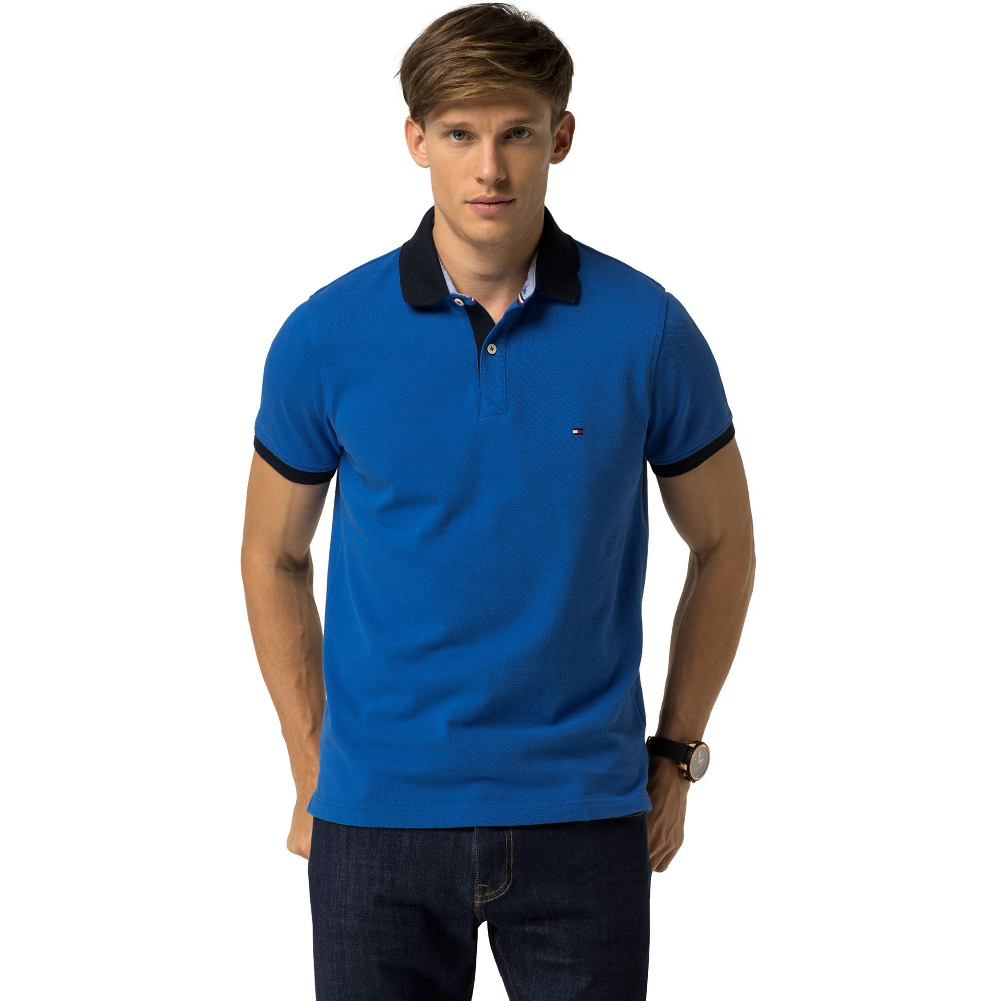 b64aa29d TOMMY HILFIGER SLIM FIT CONTRAST POLO - NAUTICAL BLUE. #tommyhilfiger  #cloth #