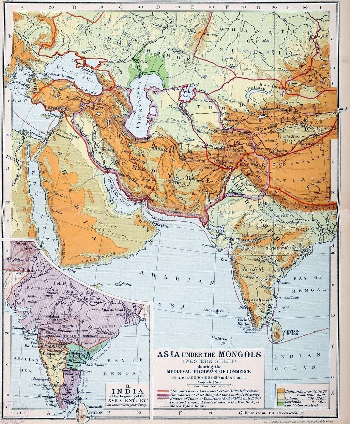 Global Map Of Asia.Asia Under The Mongols Western 13th And 14th Century