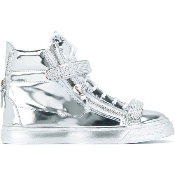 Giuseppe Zanotti Design metallic hi-top sneakers ($1,345) ❤ liked on Polyvore featuring shoes, sneakers, metallic, lace up sneakers, metallic high top sneakers, hi tops, giuseppe zanotti sneakers and high top shoes