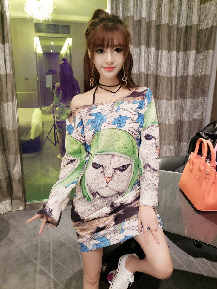 Lovely cat personality pattern long sleeve dress female