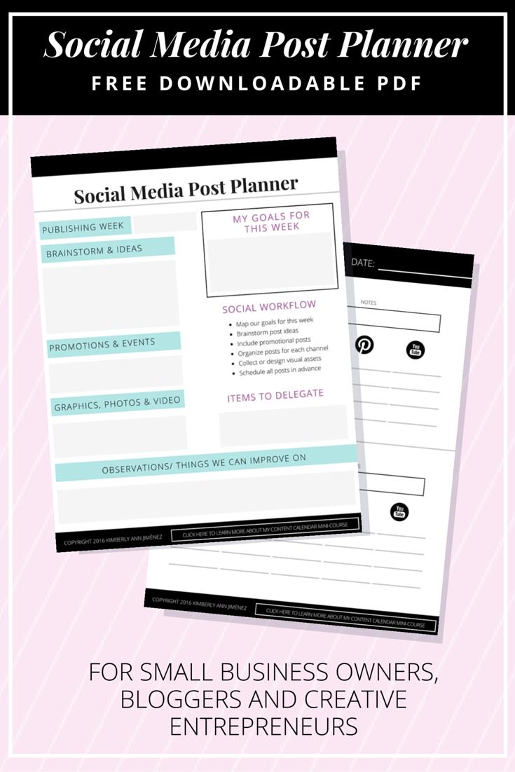 Social Media Post Planner New Pinterest Planners And Planner - Social media post planner template