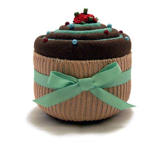 PINCUSHION Yummylooking Cupcake chocolate and mint swirl by fabriq, $8.50