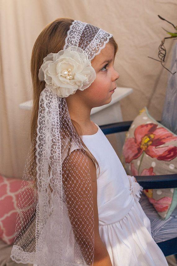 Primera comunión velo diadema w flor hecha por firstcommunionveils ...