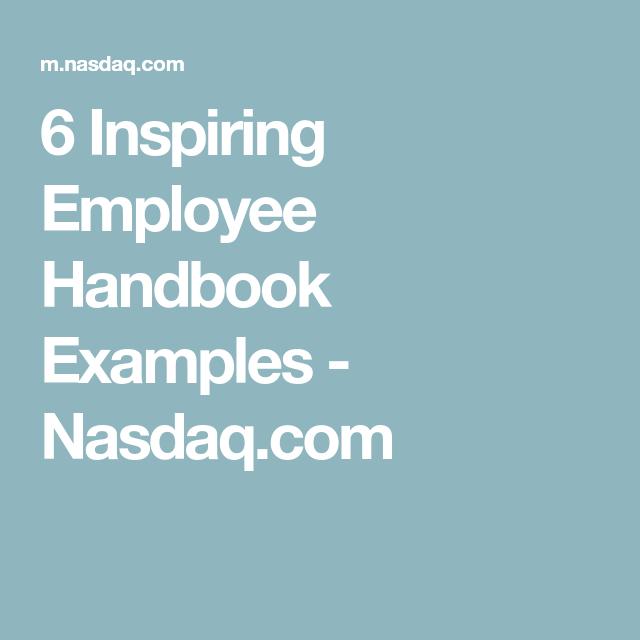Inspiring Employee Handbook Examples  NasdaqCom  Culture