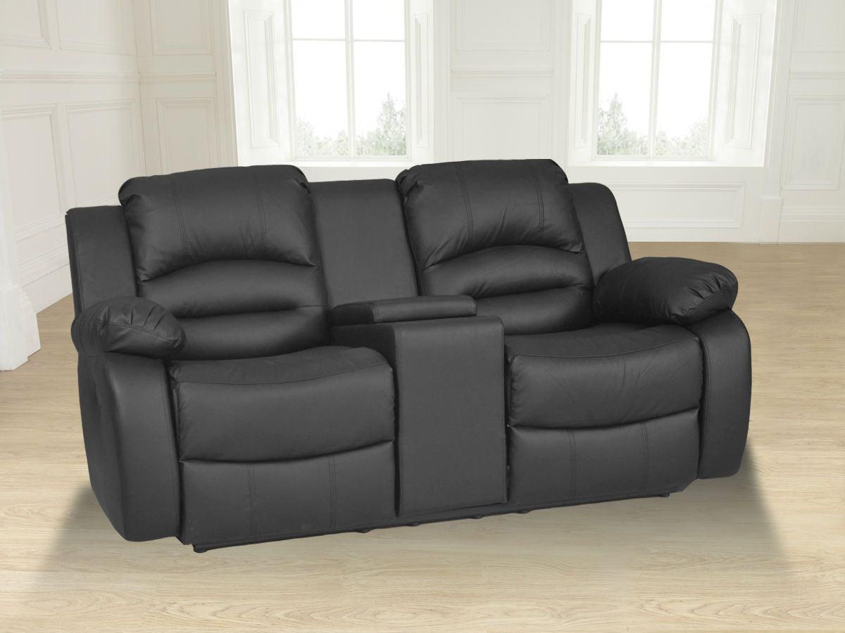 Wiltshire 2 Seater Bonded Leather Recliner Sofa With Console Black Xg01189 Ebay
