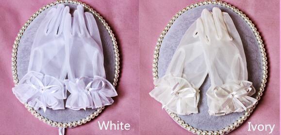 Fast Delivery Branco Ruffles Pulso Luvas De Comprimento Bow Casamento De Noiva Acessórios Do Vestido De