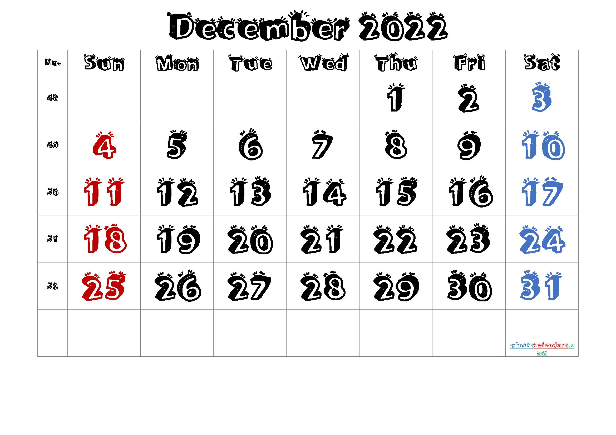 Free Printable Calendar 2022 December [Free Premium] in