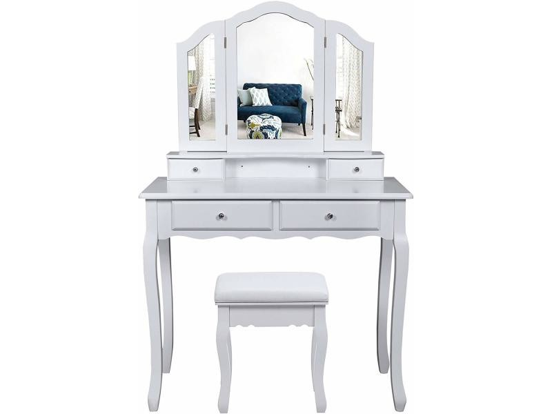 Grande Coiffeuse Table De Maquillage Avec Miroir A 3 Volets Style Champetre Blanc Rdt07w D Table Maquillage Table De Maquillage Avec Miroir Coiffeuse De Vanite