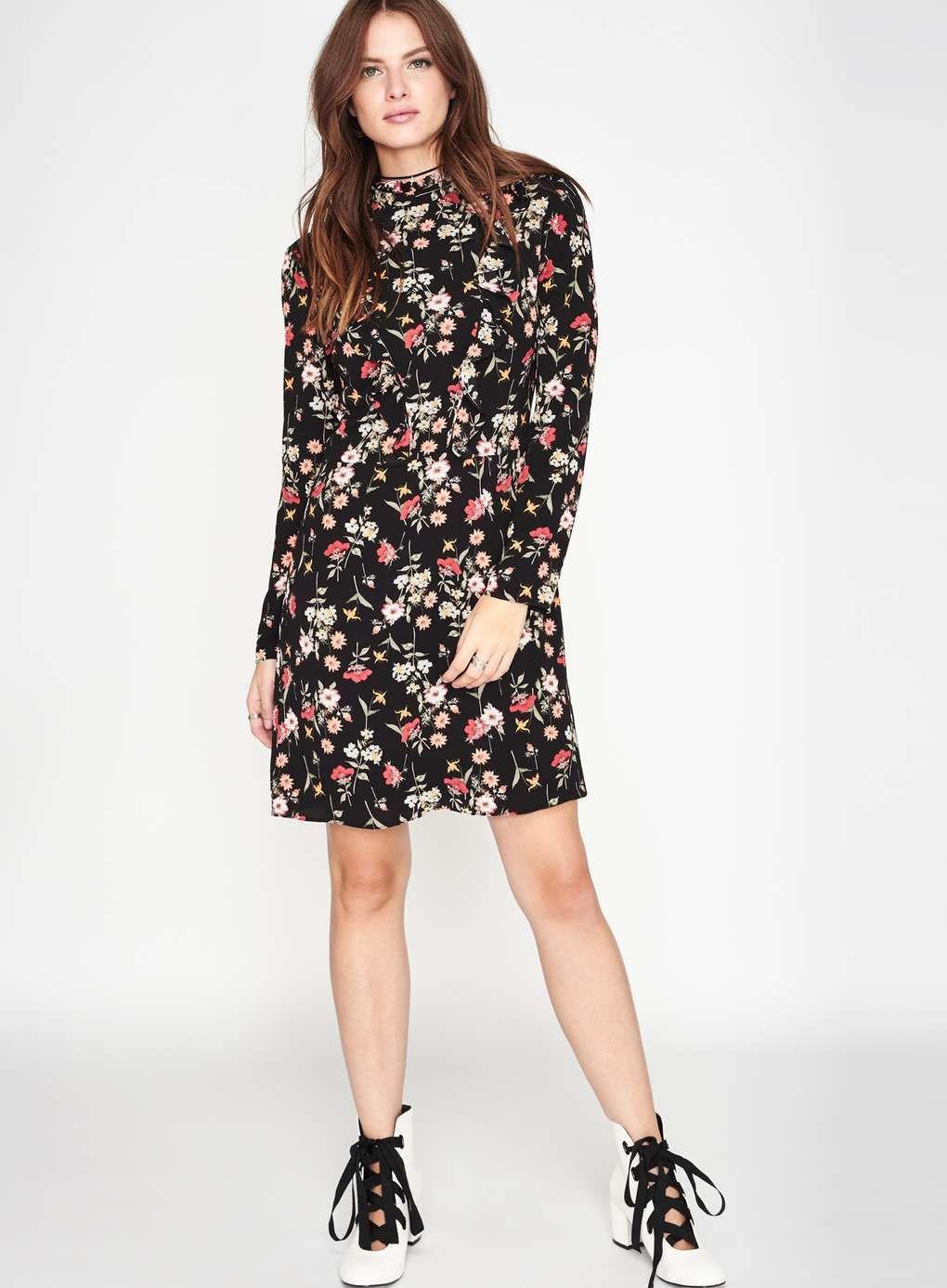 Floral High Neck Ruffle Dress Ruffle Dress Dresses Long Sleeve Dress
