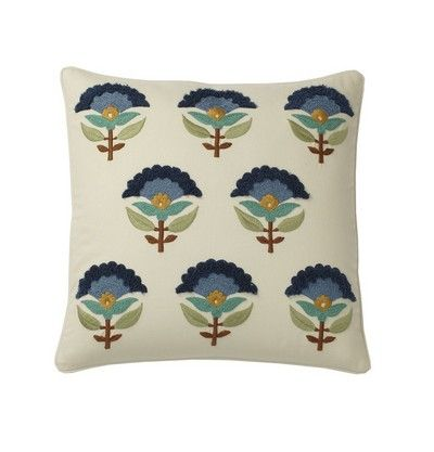 Embroidered Pillow Covers – Blue Foulard